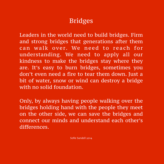 Bridges poem Sofie Sandell 2014