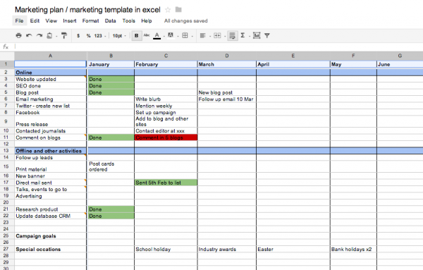 Marketing Plan Template Excel - Content marketing schedule template