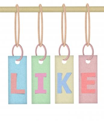 Social media Likes hanging