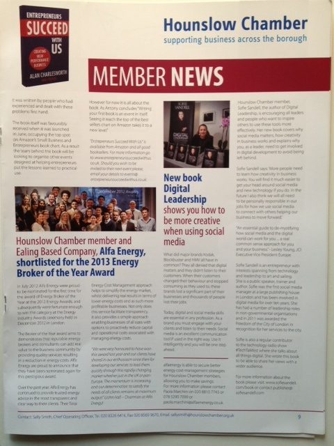 Article about Digital Leadership in Hounslow Chamber of Commerce