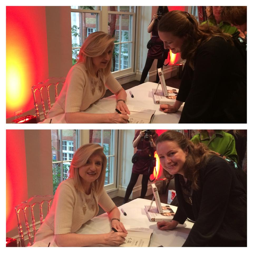 Arianna Huffington at BAFTA in London - I have a singed book!