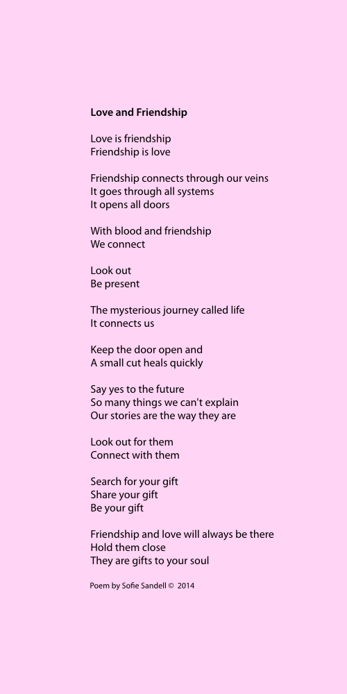 Love and friendship poem Sofie Sandell