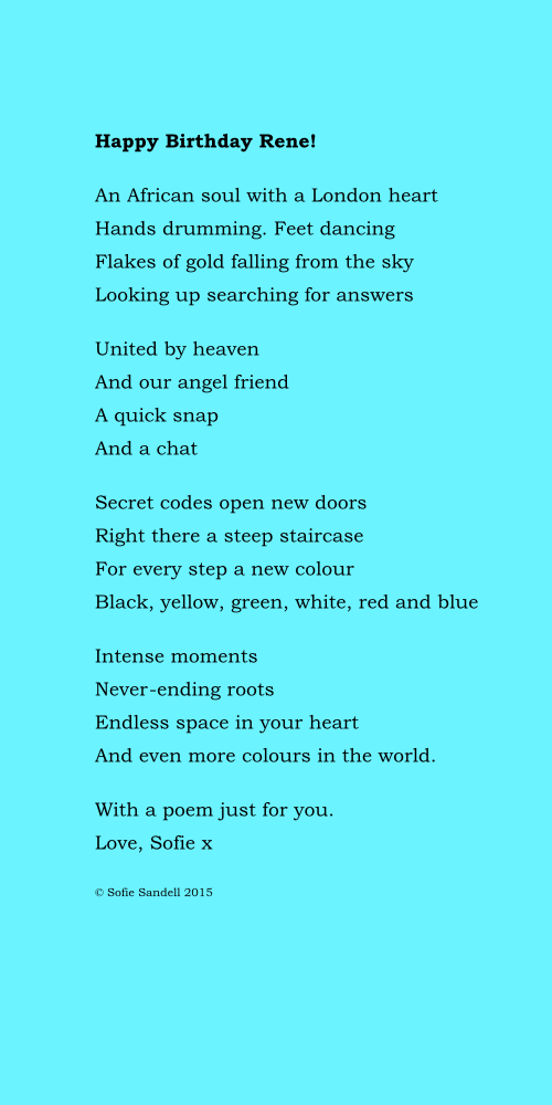 Rene poem by Sofie Sandell Happy Birthday