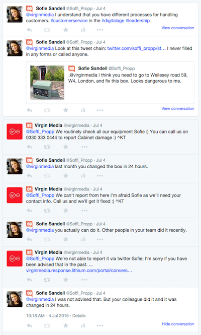 Virgin media Twitter conversation when they are not able to repair the box