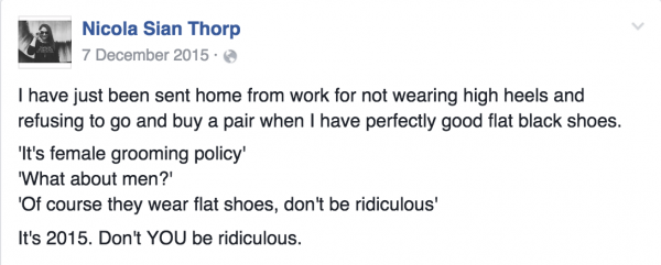 Nicola Sian Thorp Facebook status